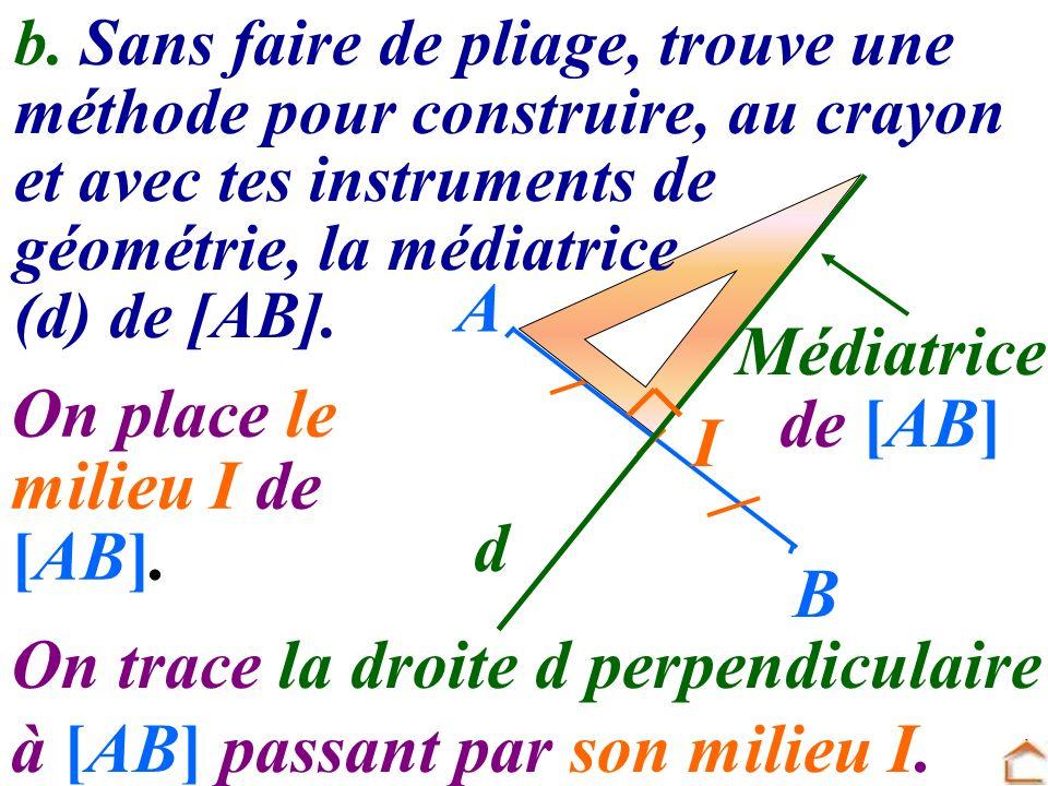 On trace la droite d perpendiculaire à [AB] passant par son milieu I.